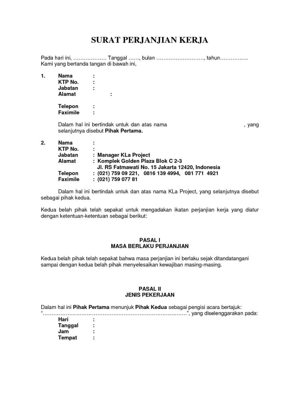 4. Contoh Surat Perjanjian Kerjasama Jasa