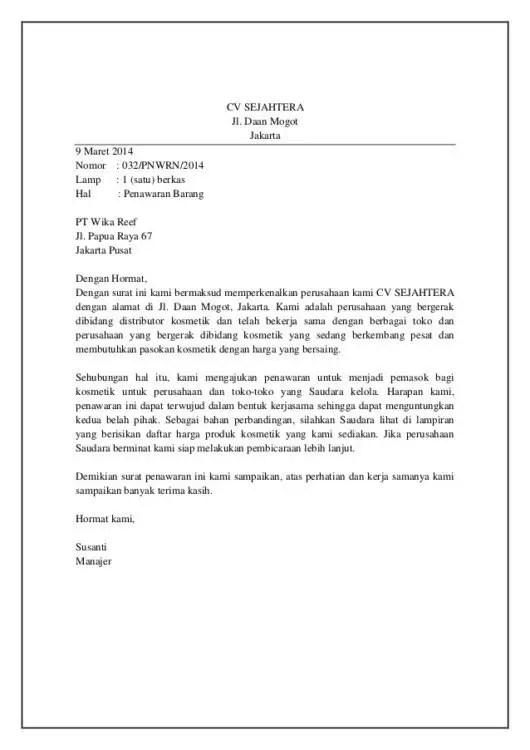 5. Contoh Surat Keluar Niaga Penawaran Barang