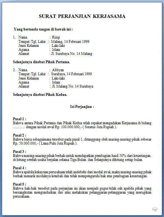 5. Contoh Surat Perjanjian Kerjasama Dagang