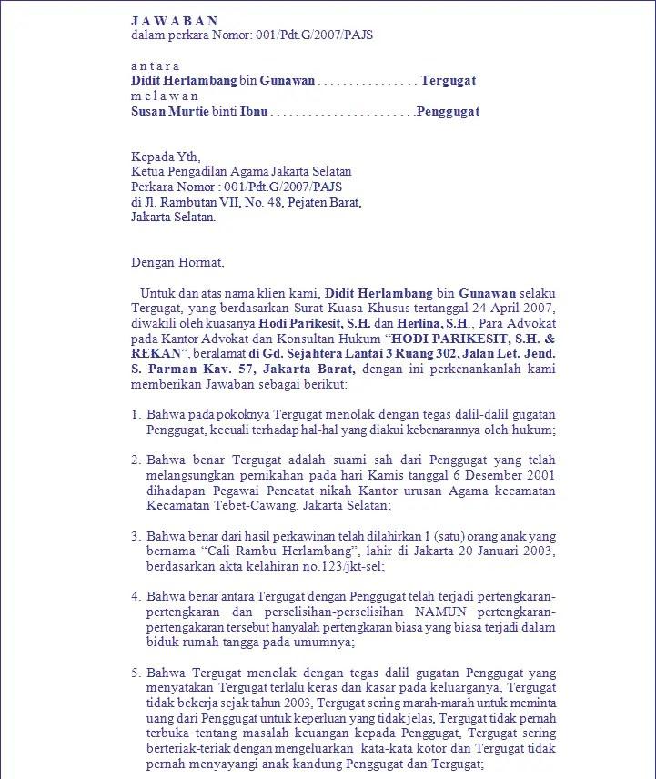 6. Contoh Surat Panggilan Sidang Cerai