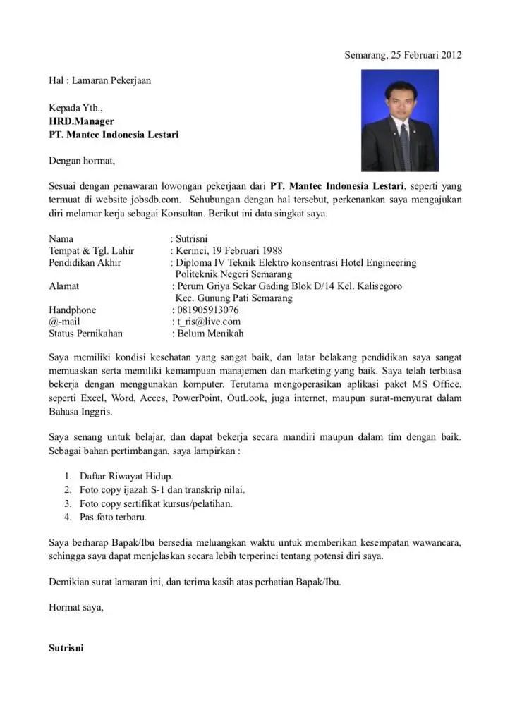 7. Contoh Surat Lamaran Kerja Yang Baik Dan Menarik