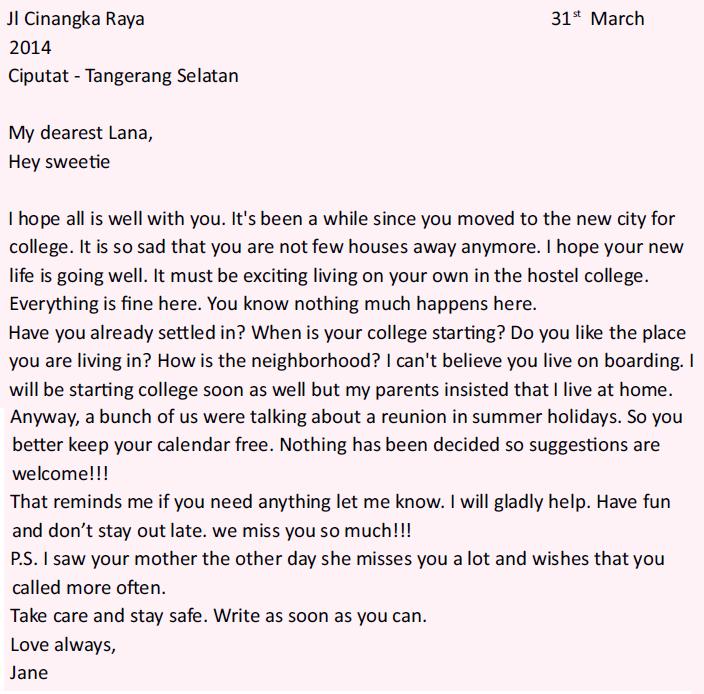 1. Contoh Surat Bahasa Inggris Untuk Teman Dan Artinya