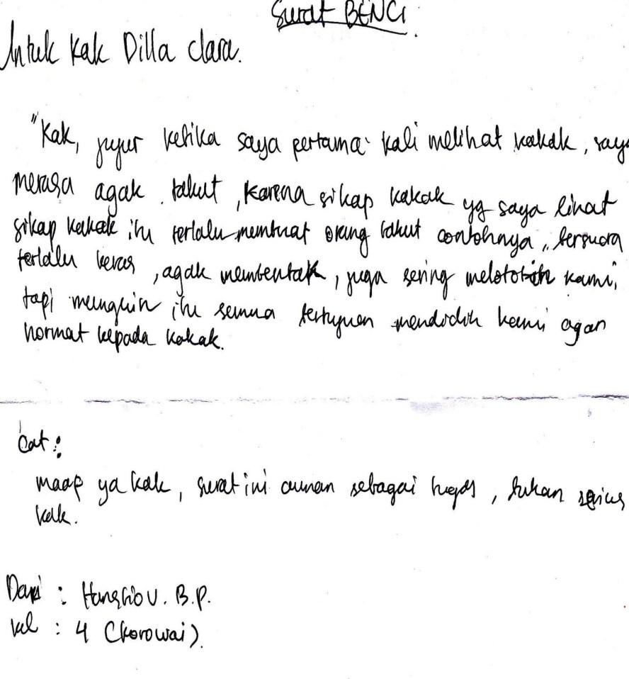1. Contoh Surat Cinta Untuk Kakak Kelas MOS