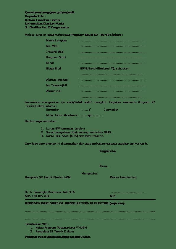 36+ Contoh surat cuti akademik terbaru terbaru