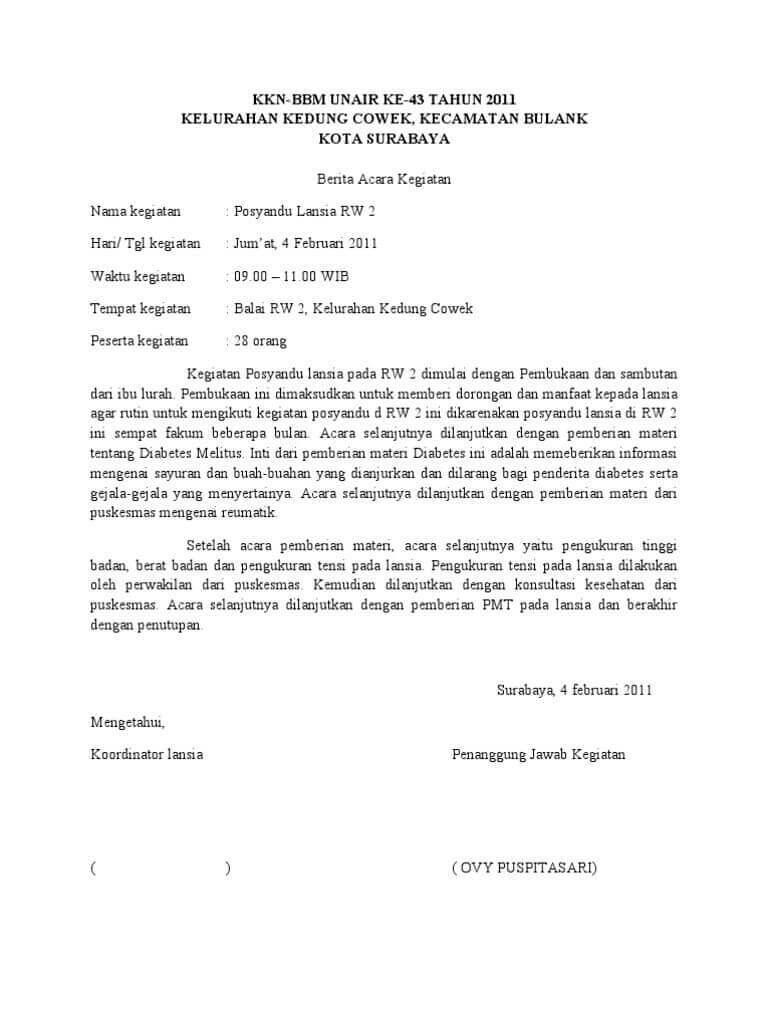 2. Contoh Surat Berita Acara Rapat