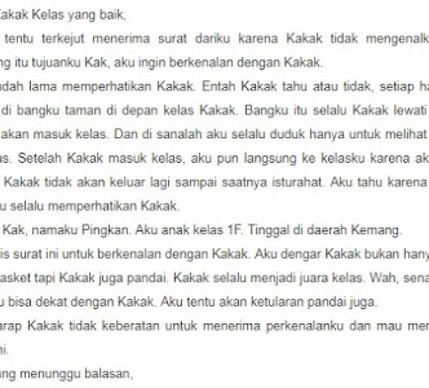 2. Contoh Surat Cinta Untuk Senior Kampus
