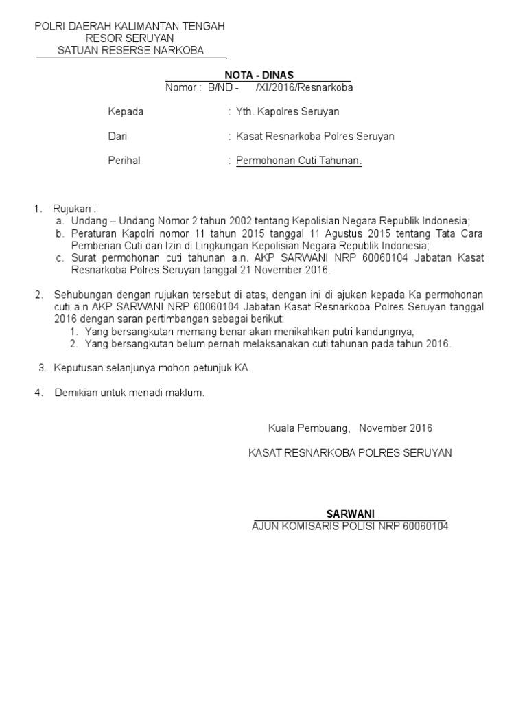 3. Contoh Surat Permohonan Cuti Tahunan