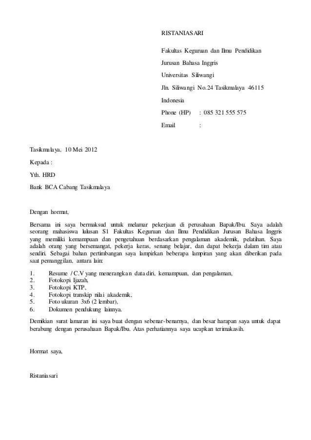 3. Contoh Surat Permohonan Magang Bakti BCA