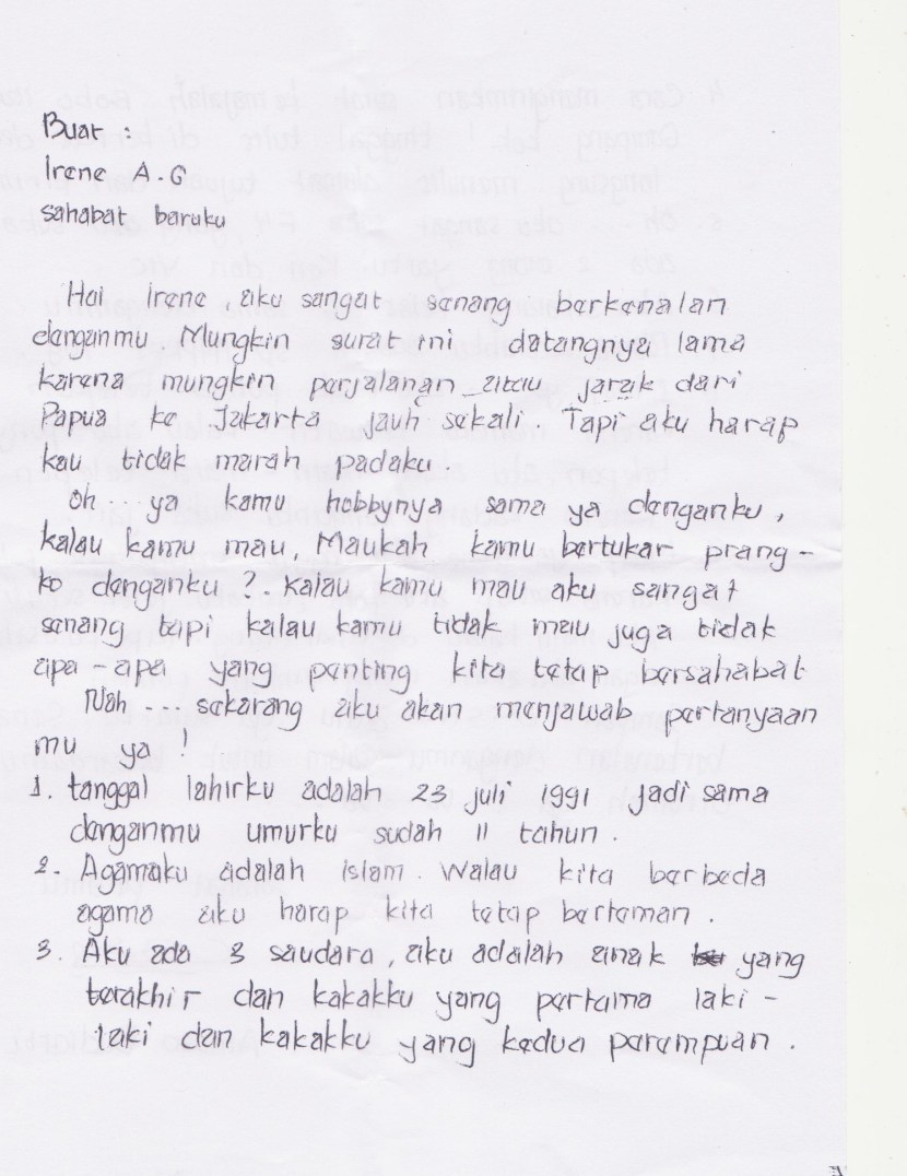 3. Surat Untuk Sahabat Pena Singkat