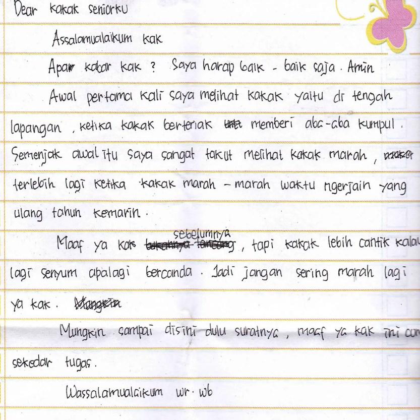 4. Contoh Surat Cinta Untuk OSIS Singkat