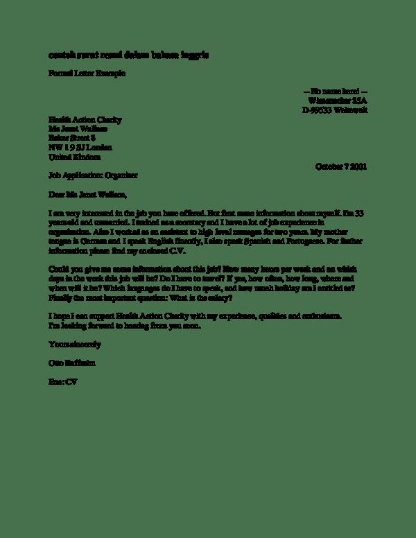 4. Contoh Surat Formal Dalam Bahasa Inggris Dan Artinya