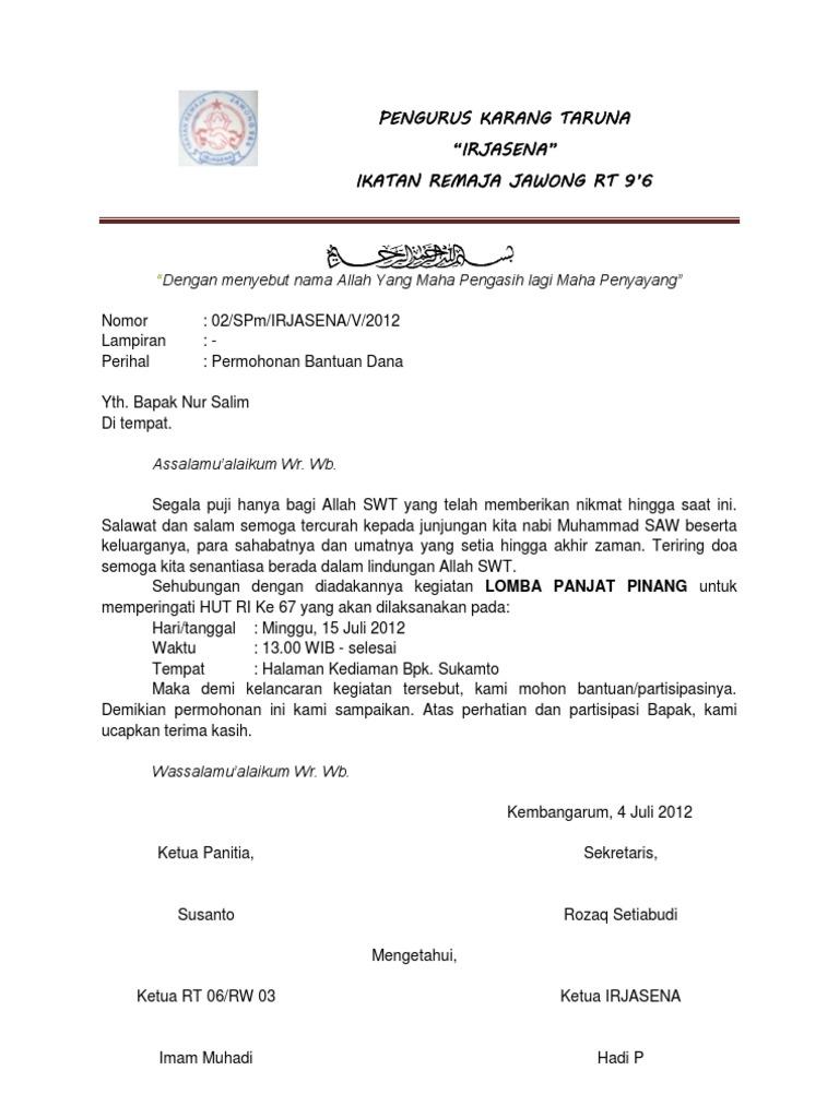 4. Contoh Surat Permohonan Dana 17 Agustus