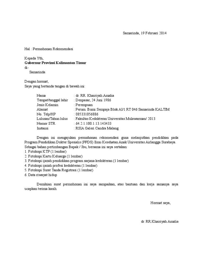 5. Contoh Surat Permohonan Rekomendasi