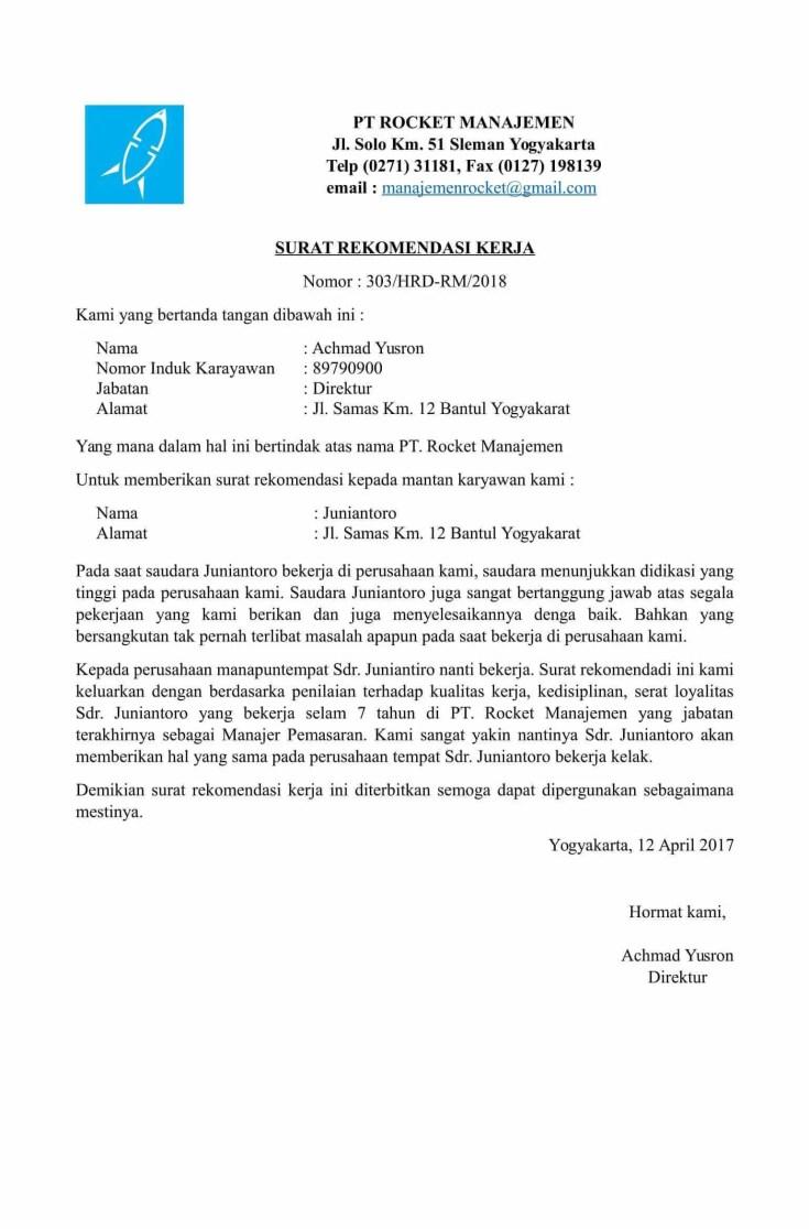 3. Contoh Surat Rekomendasi Kerja Dari Perusahaan