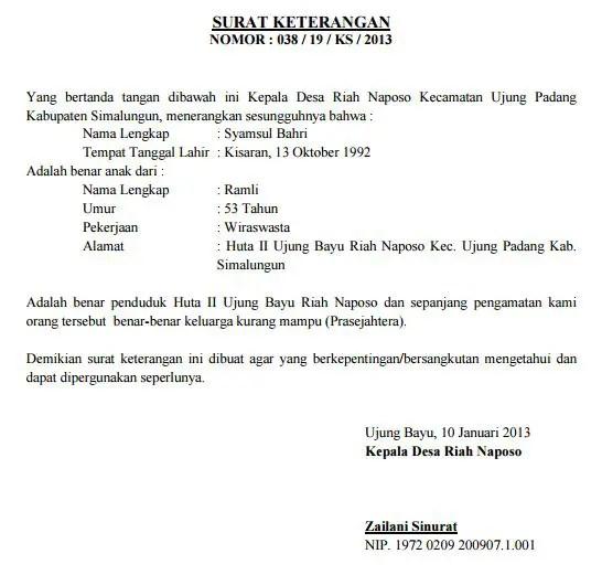5. Contoh Surat Rekomendasi Beasiswa Dari Kepala Desa Lurah