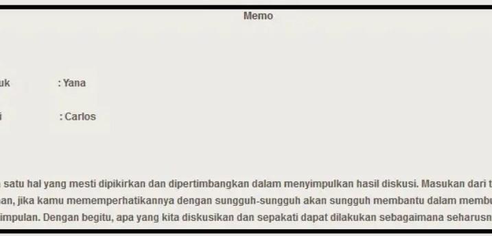 11. Contoh Surat Memo Pribadi Tidak Resmi