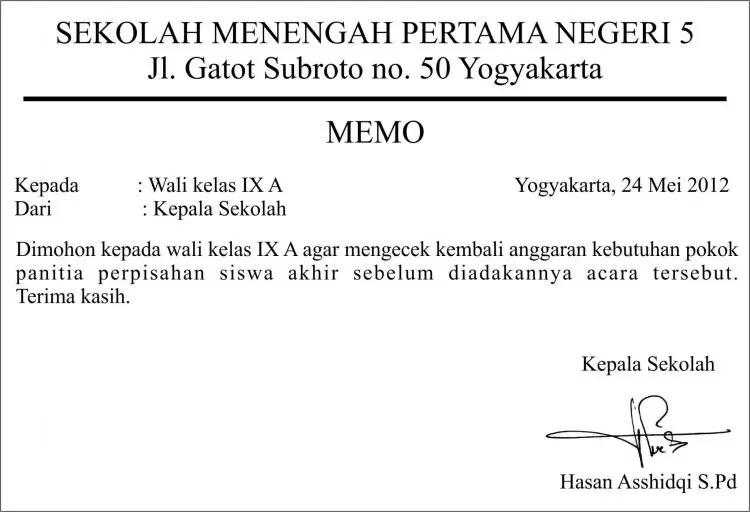 7. Contoh Surat Memo Sekolah