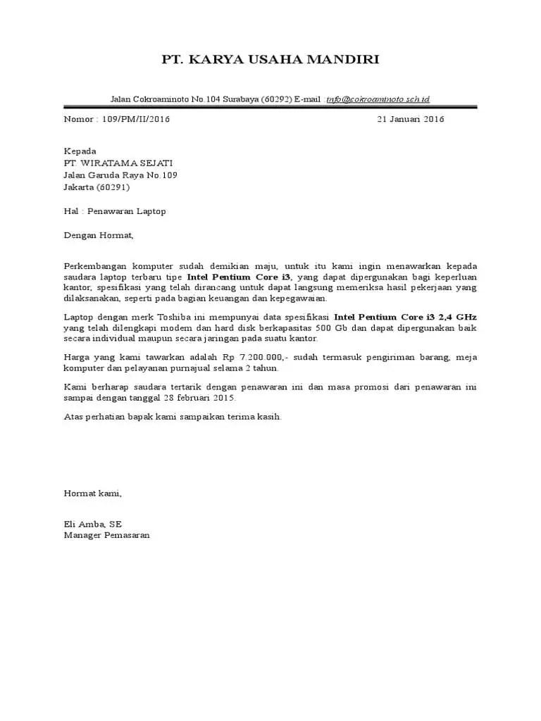 3. Contoh Surat Block Style Penawaran Barang