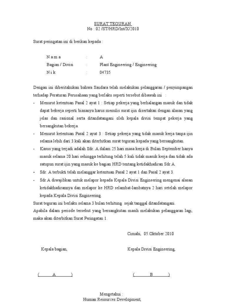 3. Contoh Surat Teguran Tertulis