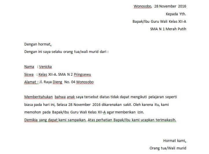 4. Contoh Surat Izin Tidak Masuk Sekolah Karena Urusan Keluarga