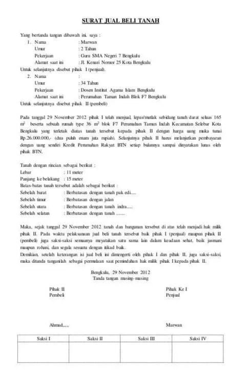 4. Surat Jual Beli Tanah Warisan