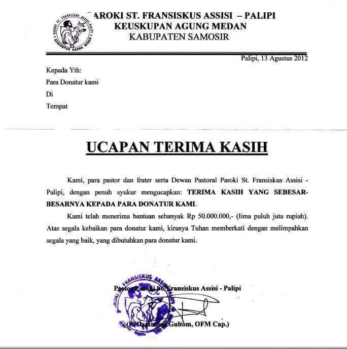 4. Surat Ucapan Terima Kasih Atas Bantuan Dana