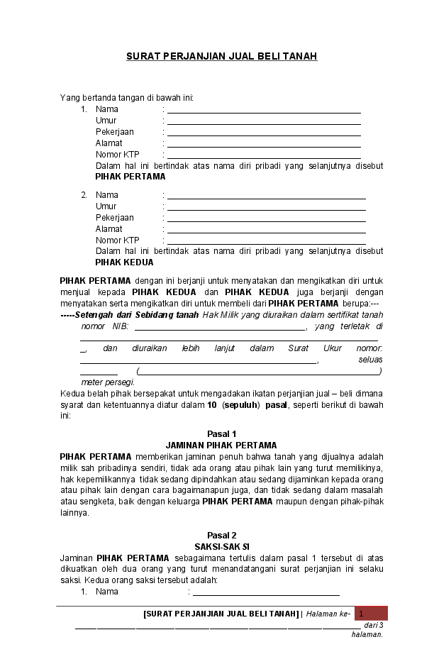 5. Contoh Surat Perjanjian Jual Beli Tanah Pdf
