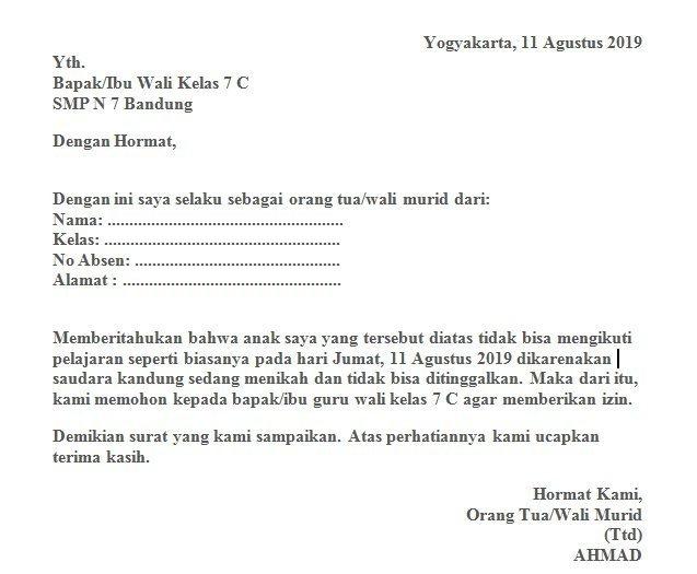6. Contoh Surat Izin Tidak Masuk Sekolah Karena Kepentingan Keluarga