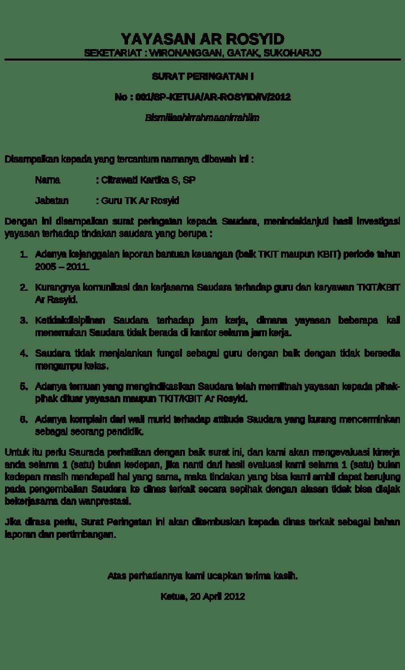 6. Contoh Surat Teguran Disiplin
