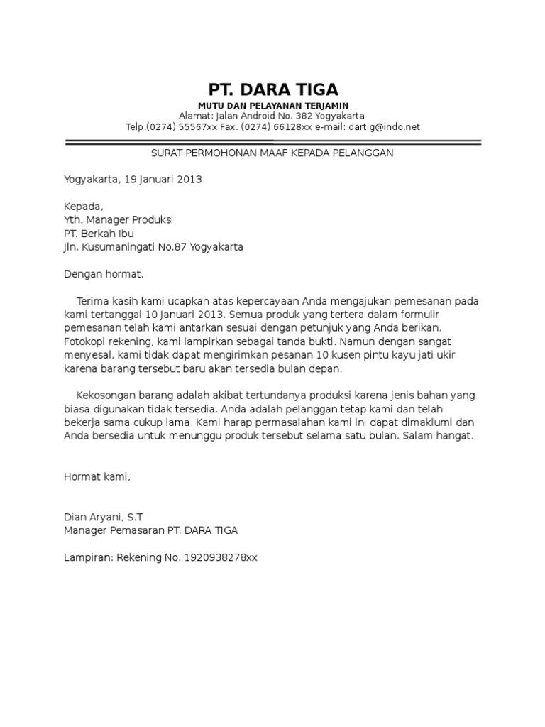 1. Contoh Surat Permohonan Maaf Perusahaan Karena Stok Barang Kosong