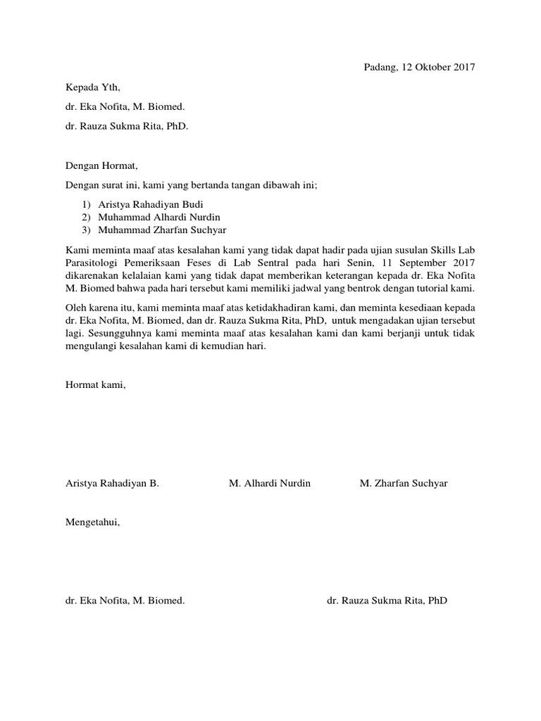 1. Contoh Surat Permohonan Maaf Dan Izin Mahasiswa Kepada Dosen