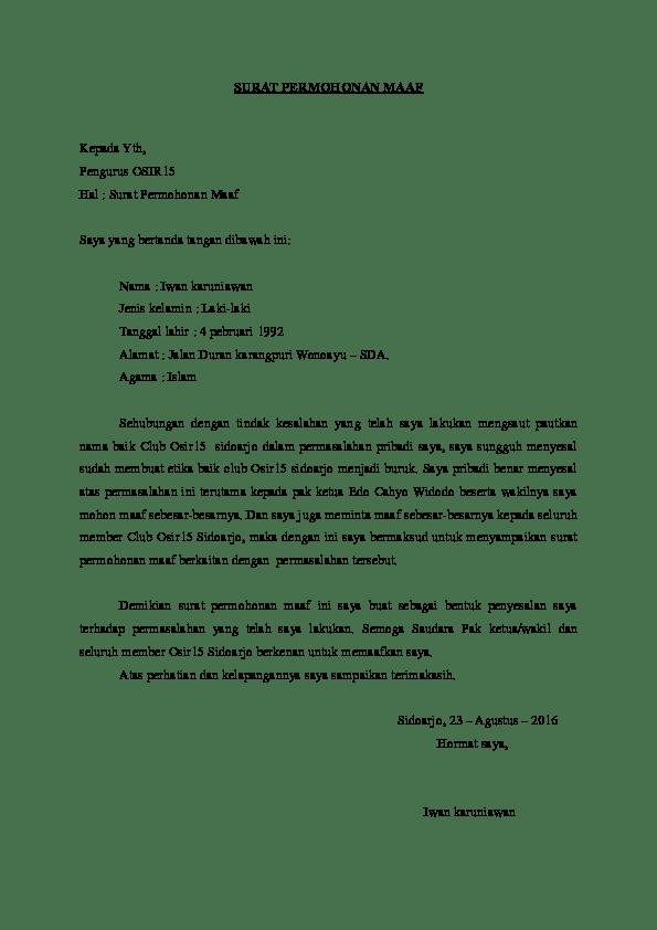 2. Contoh Surat Permohonan Maaf Mahasiswa Kepada Dosen Pembimbing