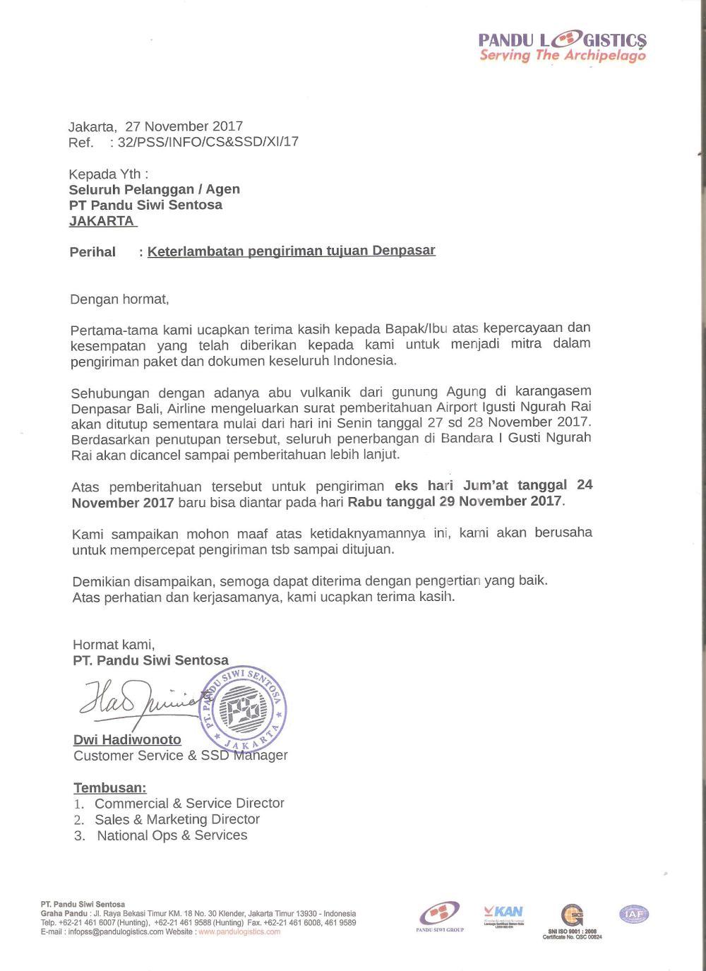 2. Contoh Surat Permohonan Maaf Perusahaan Kepada Pelanggan Karena Keterlambatan Pengiriman