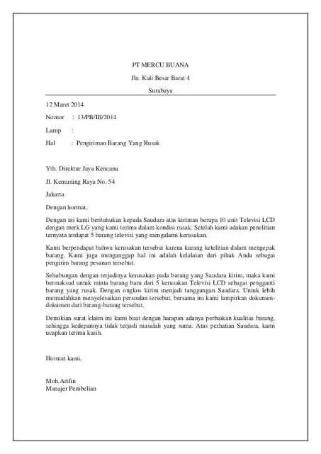 3. Contoh Surat Permohonan Maaf Perusahaan Karena Kesalahan Barang