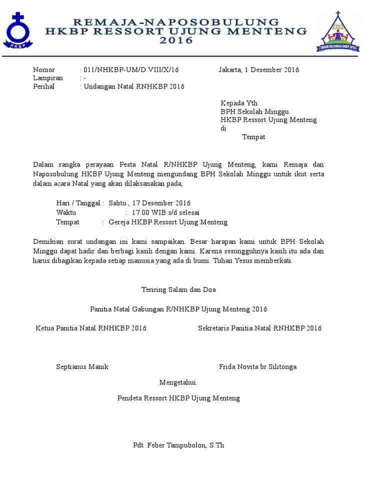 Contoh Surat Undangan Natal Naposo HKBP