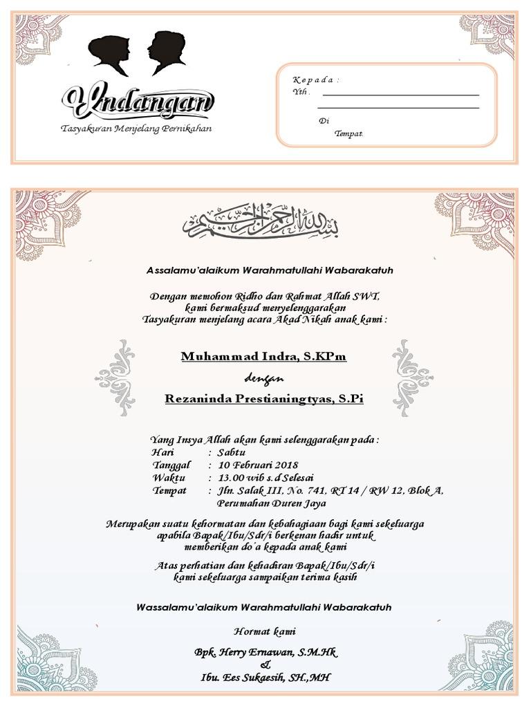 20 Contoh Surat Undangan Pengajian Nikah, Umum, DLL   Contoh Surat