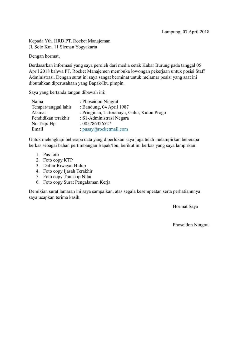 35 Contoh Surat Lamaran Kerja 2020 Berbagai Posisi Contoh Surat