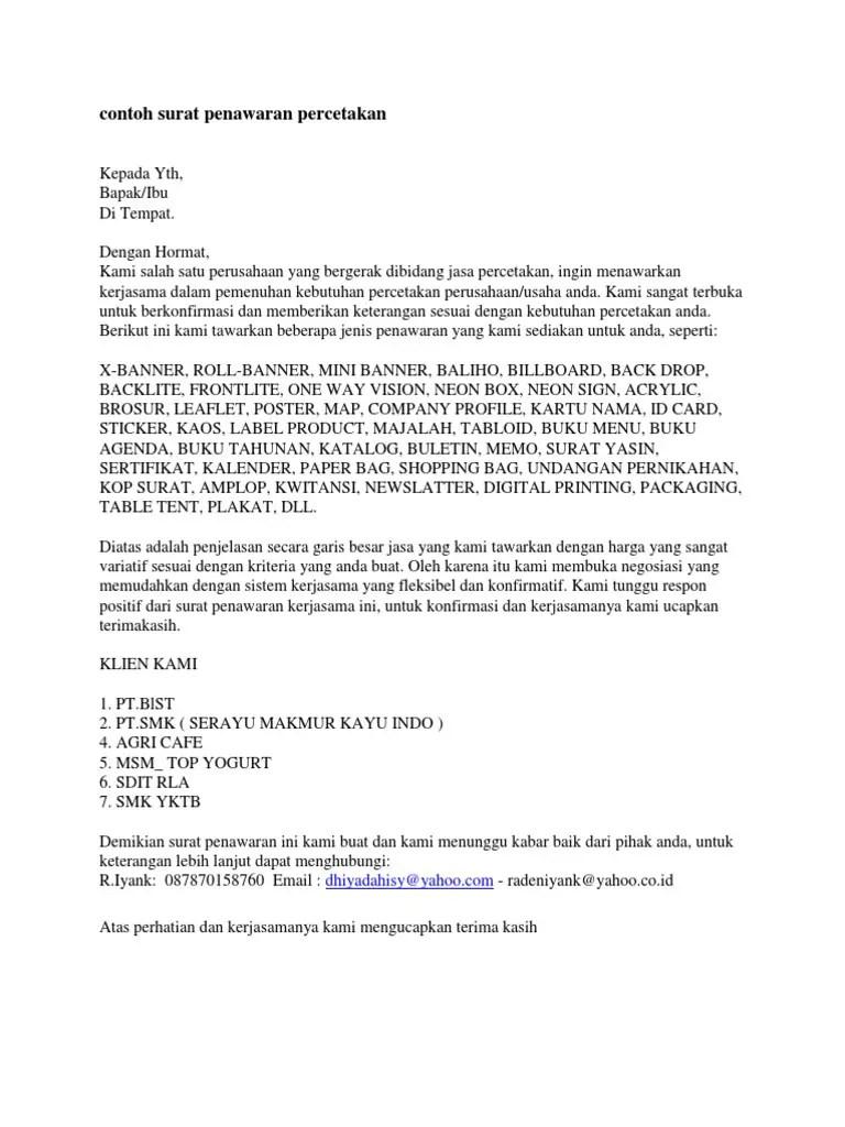12. Contoh Surat Penawaran Jasa Percetakan