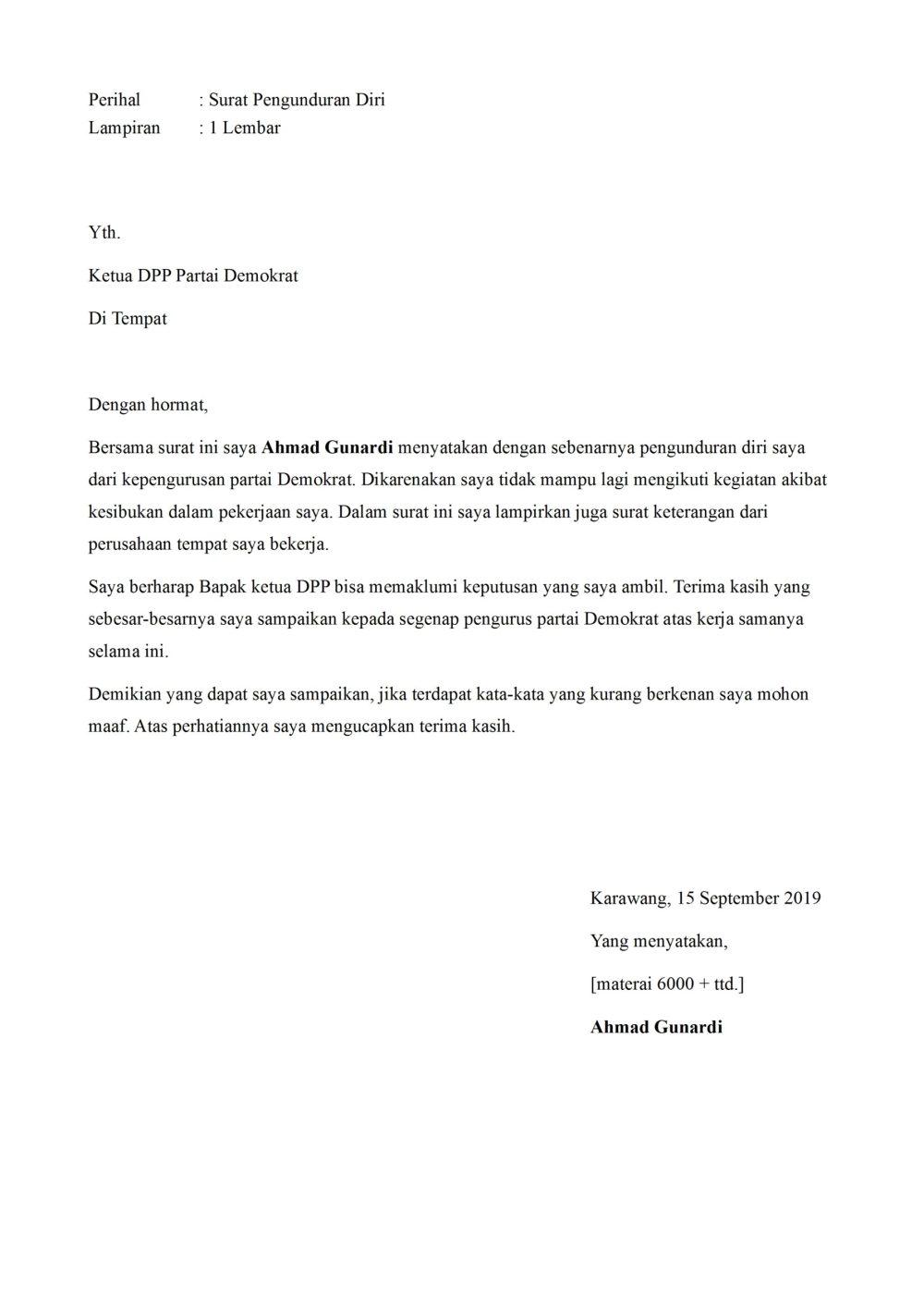 12. Contoh Surat Permohonan Pengunduran Diri Dari Partai Politik