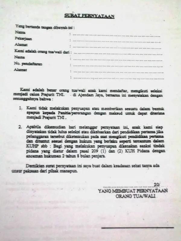 13. Contoh Pernyataan Orang Tua Untuk Melamar TNI