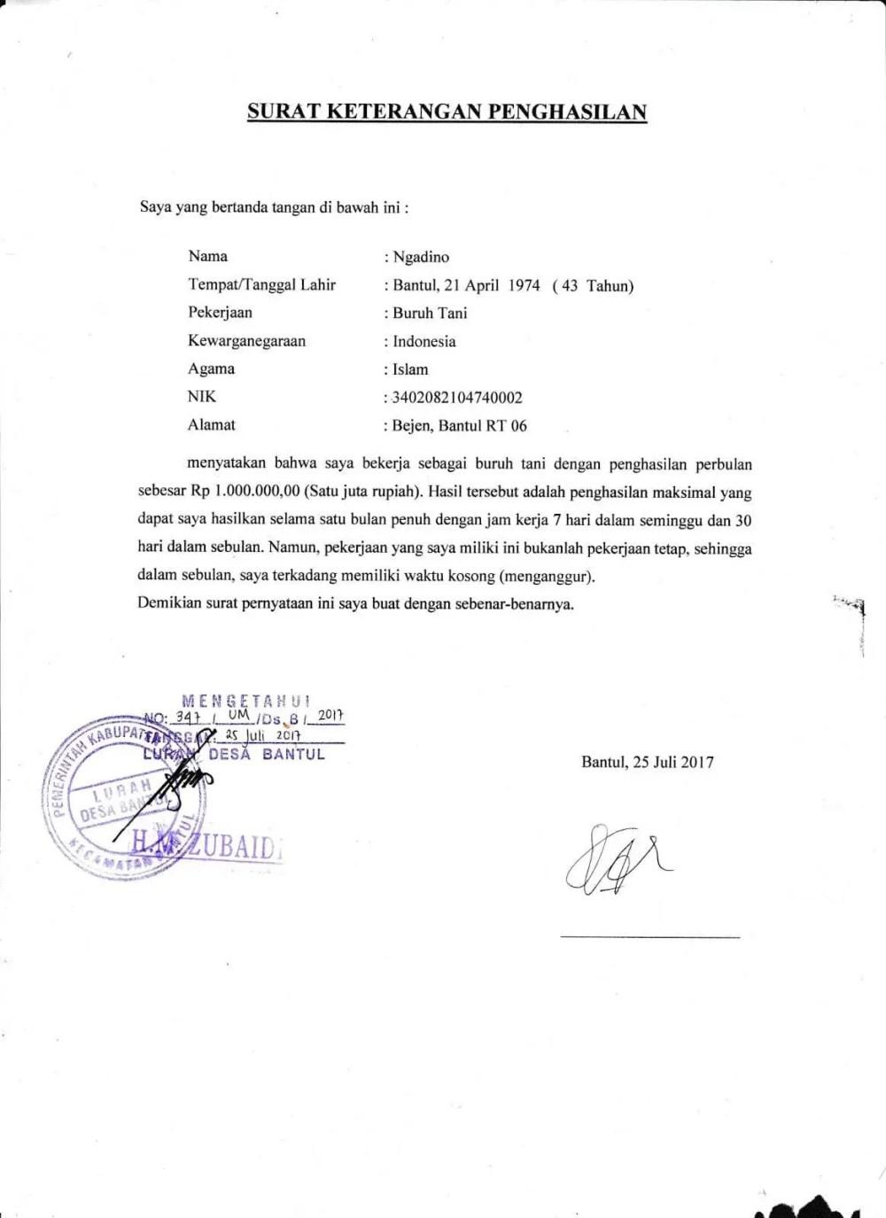 16. Contoh Format Surat Pernyataan Orang Tua