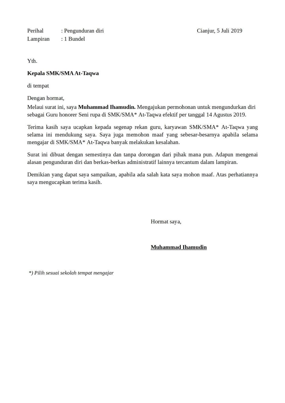 2. Contoh Surat Pengunduran Diri Dari Sekolah Sebagai Guru TK