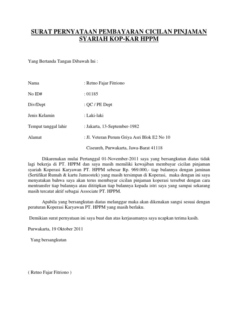 2. Contoh Surat Pernyataan Kesanggupan Membayar Angsuran