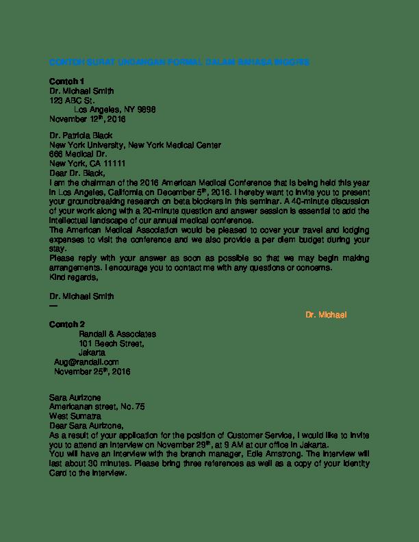 16 Contoh Surat Undangan Dalam Bahasa Inggris Dan Arti Contoh Surat