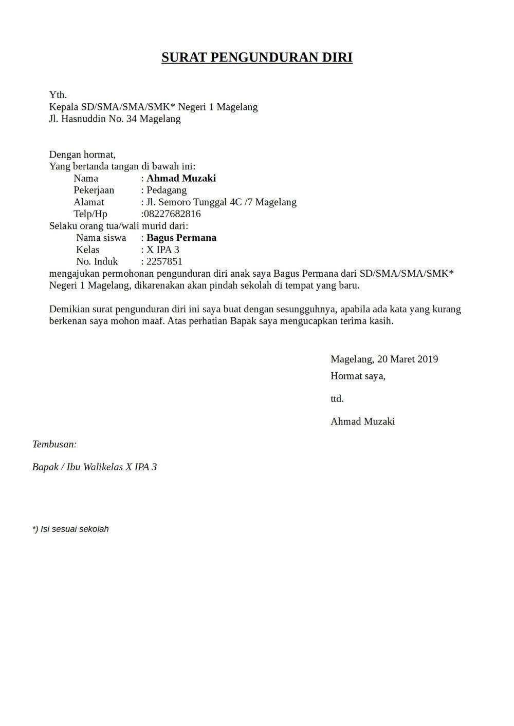 3. Contoh Surat Pengunduran Diri Dari Sekolah Sebagai Murid Siswa