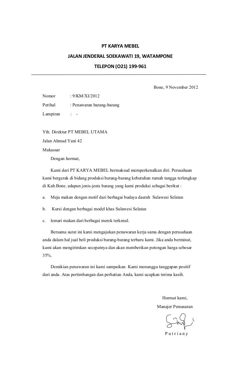 4. Contoh Surat Niaga Penawaran Harga
