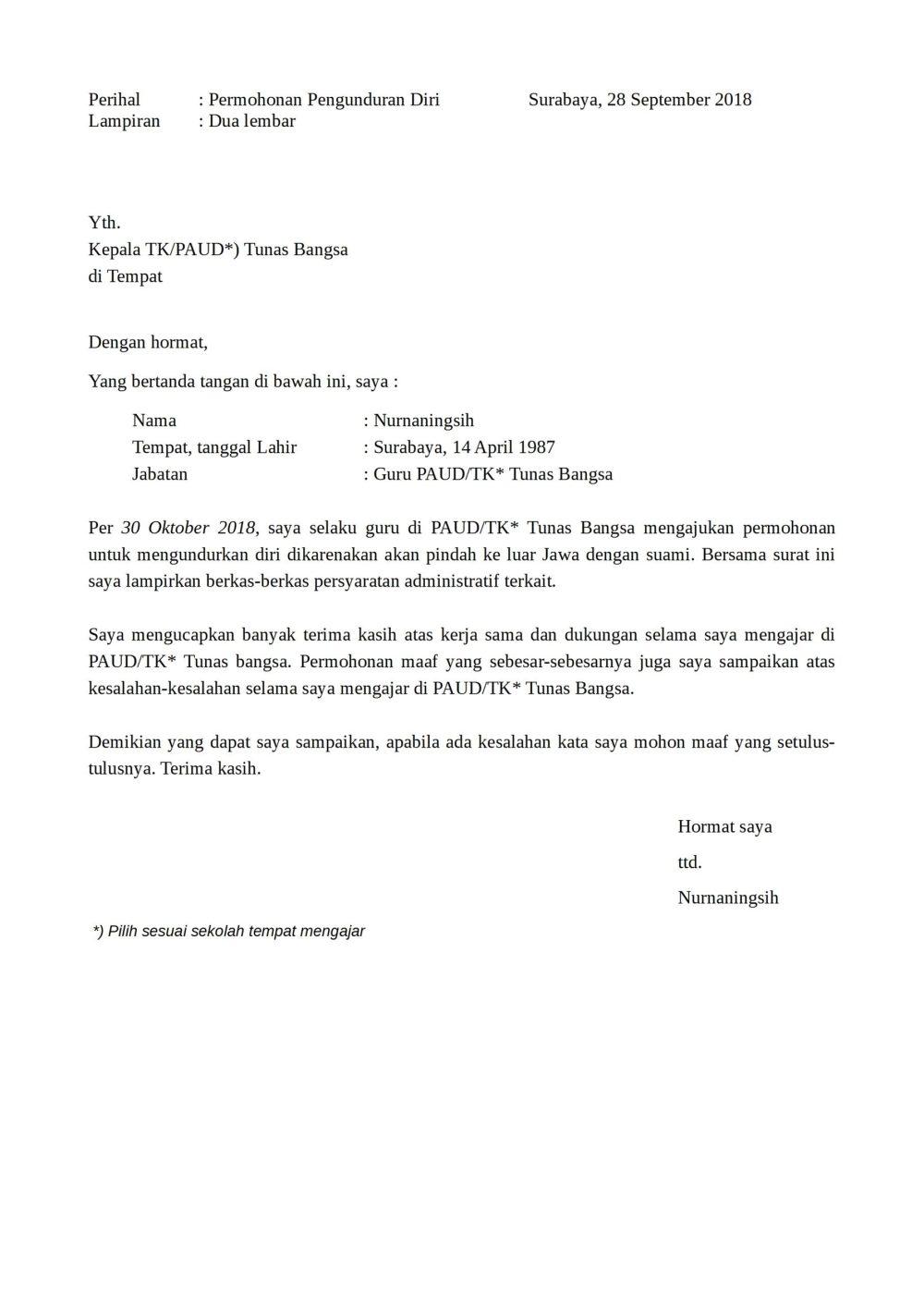 4. Contoh Surat Pengunduran Diri Dari Jabatan Ketua