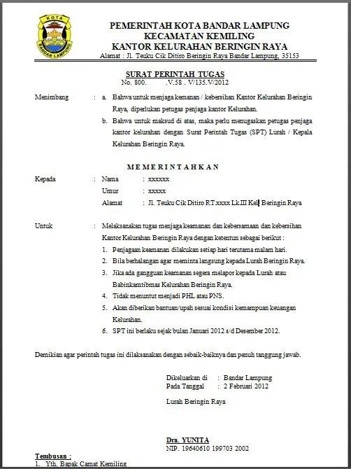 4. Contoh Surat Perintah Tugas Perangkat Desa