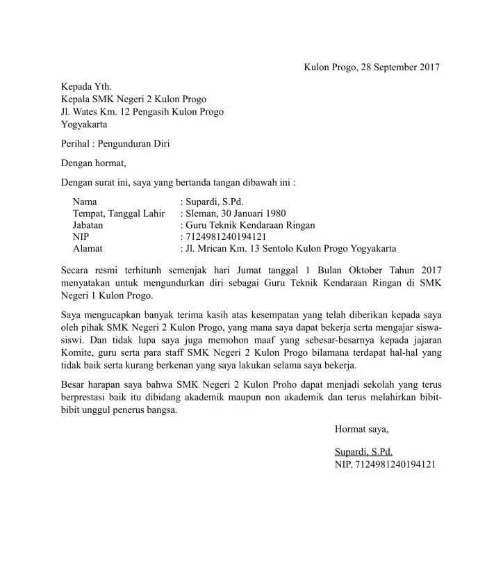 15+ Contoh surat pengunduran diri dari sekolah terbaru yang baik