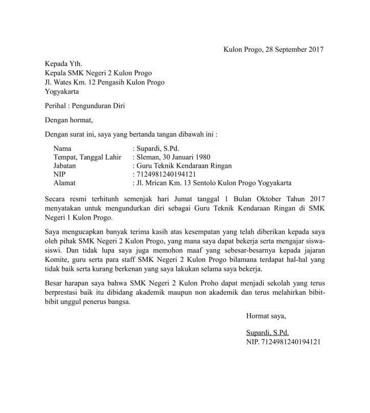 4. Contoh Surat Resign Guru PNS